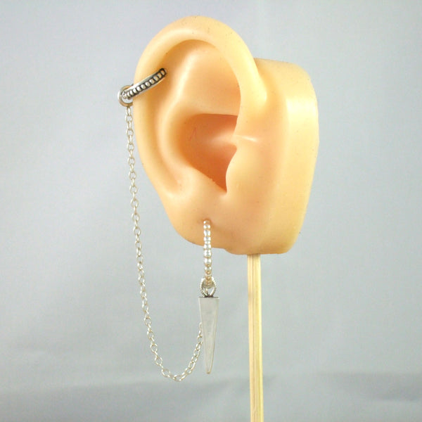 Ear Cuff with chain, Hand made Bead Hoop Earring with Hand Made Spike Charm in Sterling Silver