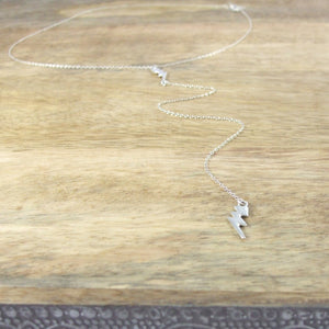 Sterling Silver Double Lightning Bolt long drop necklace