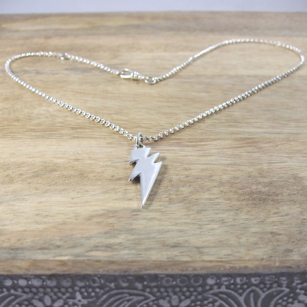 Sterling Silver Large Lightning Bolt Necklace