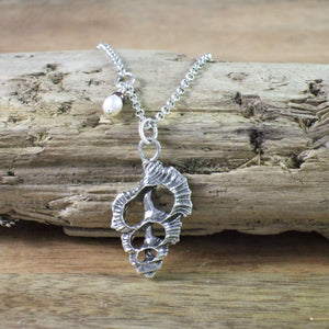 Frilly Shell Slice Necklace with Pearl Accent in Recycled Sterling Silver