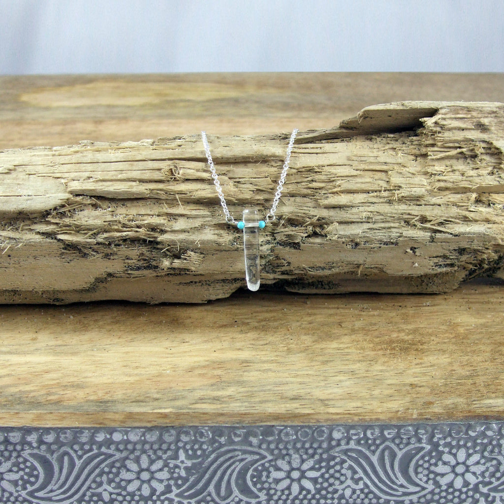 Single Point Rock Crystal and Turquoise Necklace