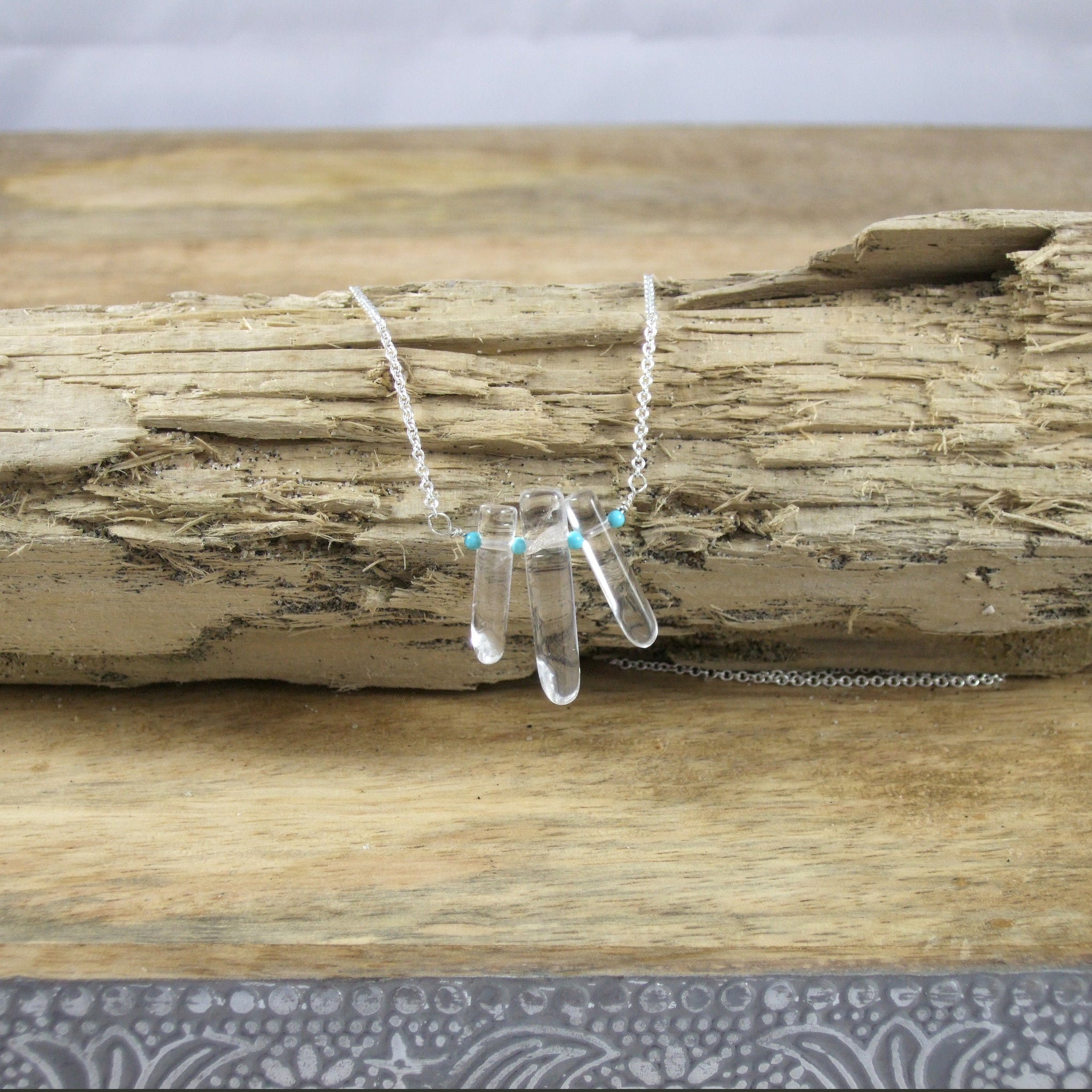 Triple Point Rock Crystal and Turquoise Necklace