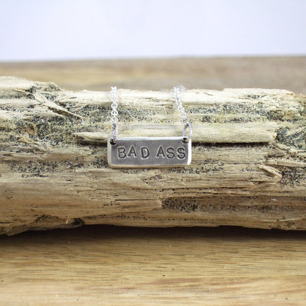 SPELL IT LIKE IT IS - BAD ASS Necklace in Recycled Sterling Silver