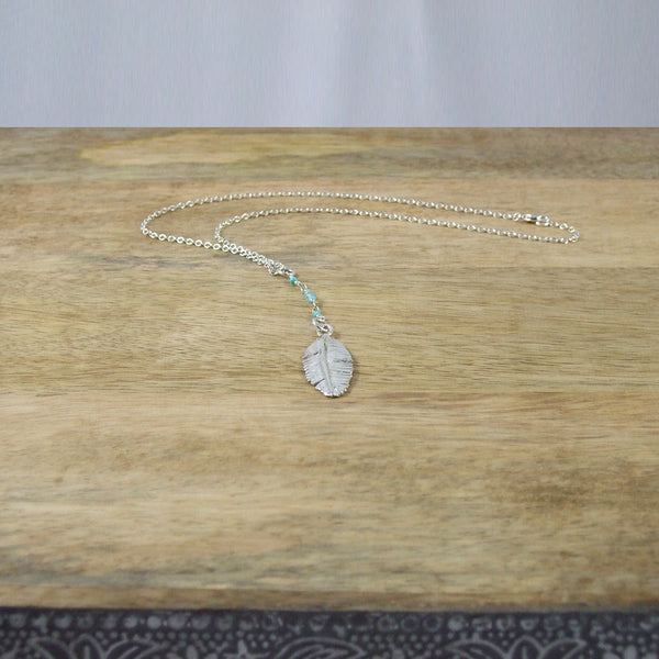 Sterling Silver Feather Necklace with Turquoise and Moonstone Beads