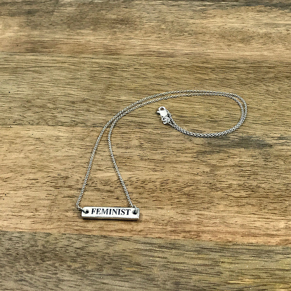 "BADASS/FEMINIST Spell It Like It Is - Flip Necklace in Recycled Sterling Silver - 18"" Chain"