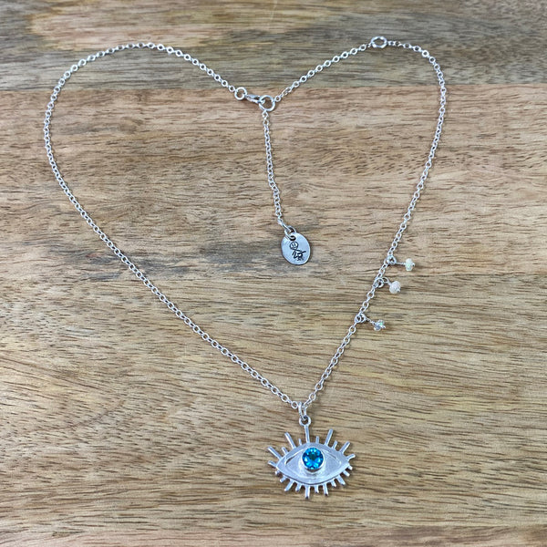 All Seeing Eye Necklace set with Genuine Blue Topaz in Recycled Sterling Silver