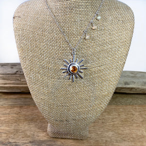 Sun Goddess Necklace with Genuine Citrine in Recycled Sterling Silver
