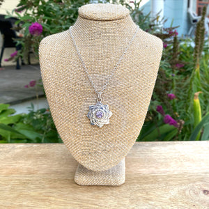 Lotus Flower Necklace in Recycled Sterling Silver Set with 6mm Genuine Gemstone