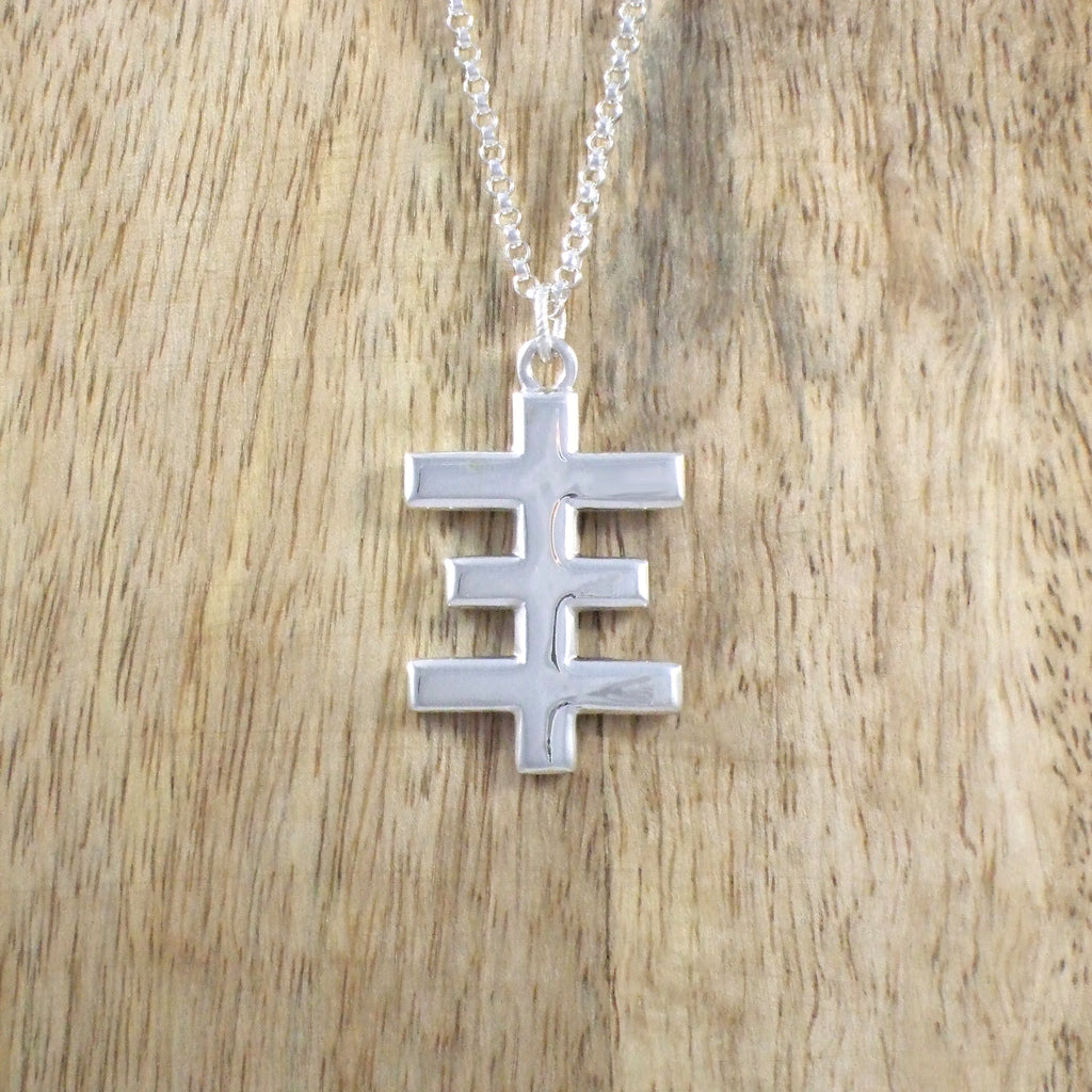 Sterling Silver Large Psychic Cross Necklace