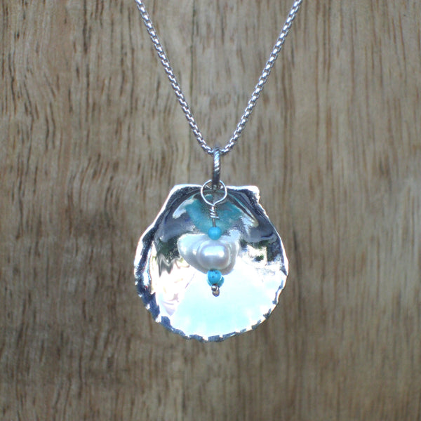 Sterling Silver Scallop Shell Necklace with Turquoise and Pearl