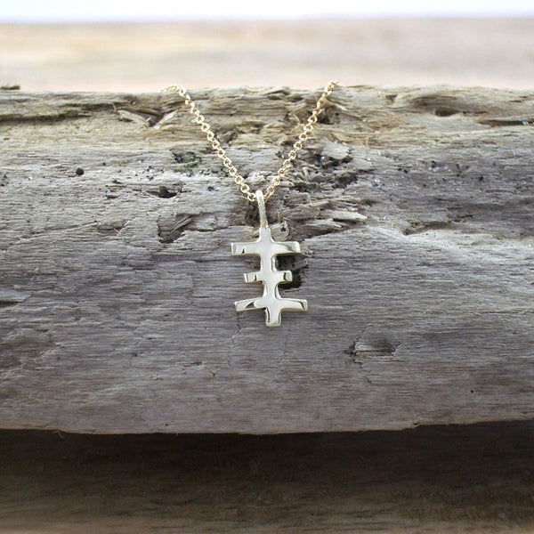 TINY PSYCHIC CROSS PENDANT CAST IN RECYCLED 14K GOLD