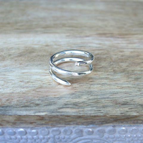 14K White Gold Double Coil Ring