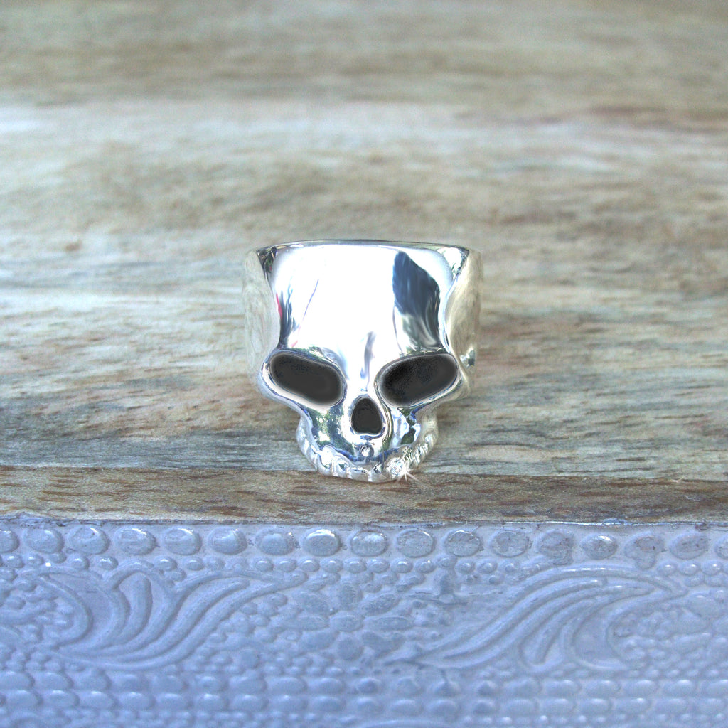Sterling Silver Skull Ring with .01 cttw Diamond