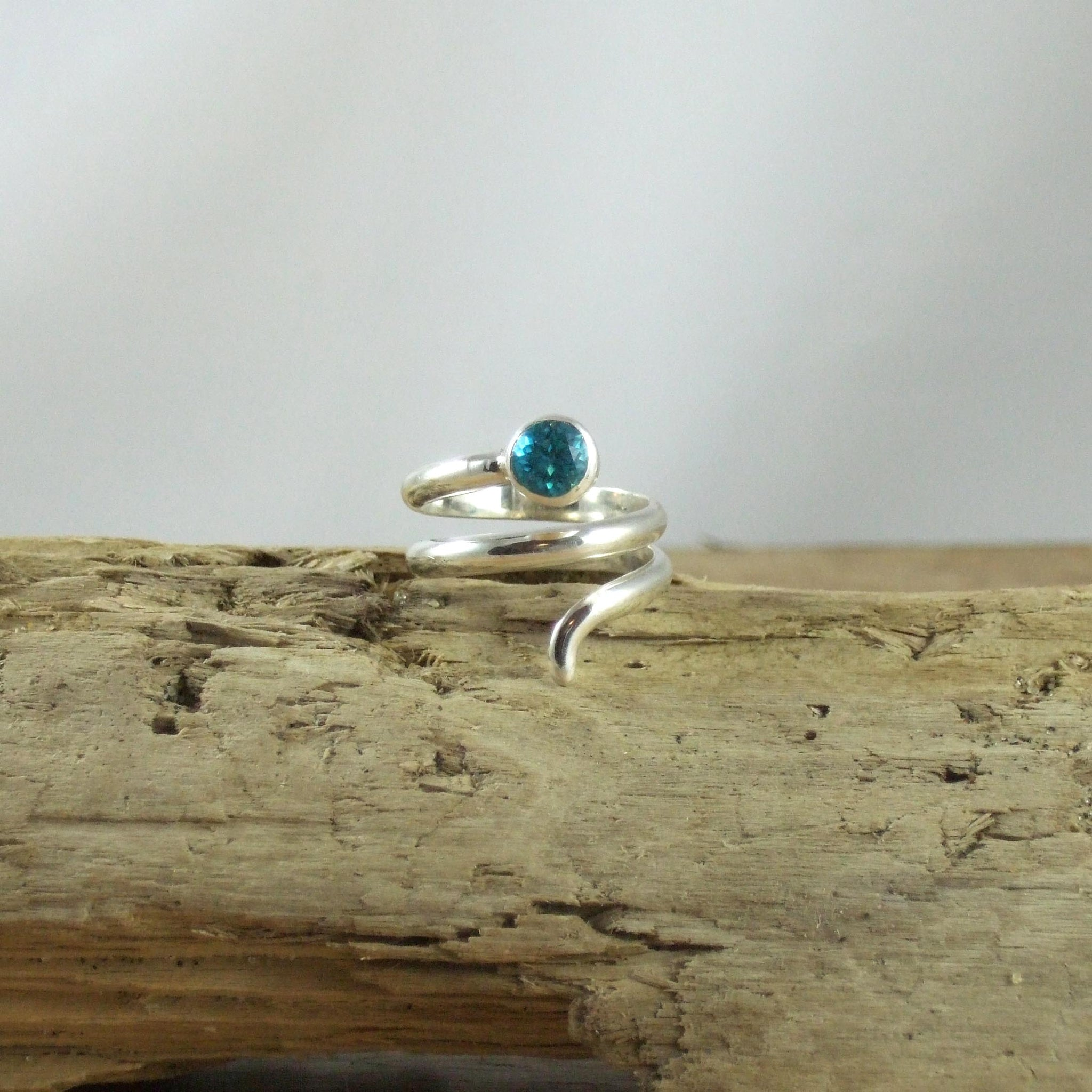 Sterling Silver and Genuine Gemstone Color Coil Ring