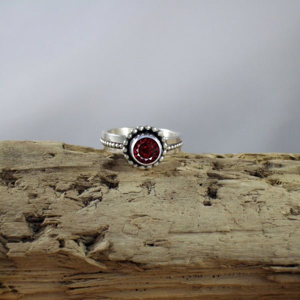 Byzantine Ring with Genuine Gemstone set in Recycled Sterling Silver