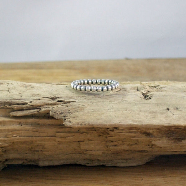 Modern Beaded Stacking Ring In Recycled Sterling Silver