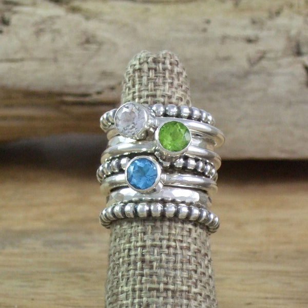 Modern Stacking Ring with 6mm Round Semi-Precious Stone in Recycled Sterling Silver