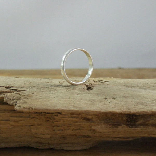 Modern Hammered Stacking Ring in Recycled Sterling Silver