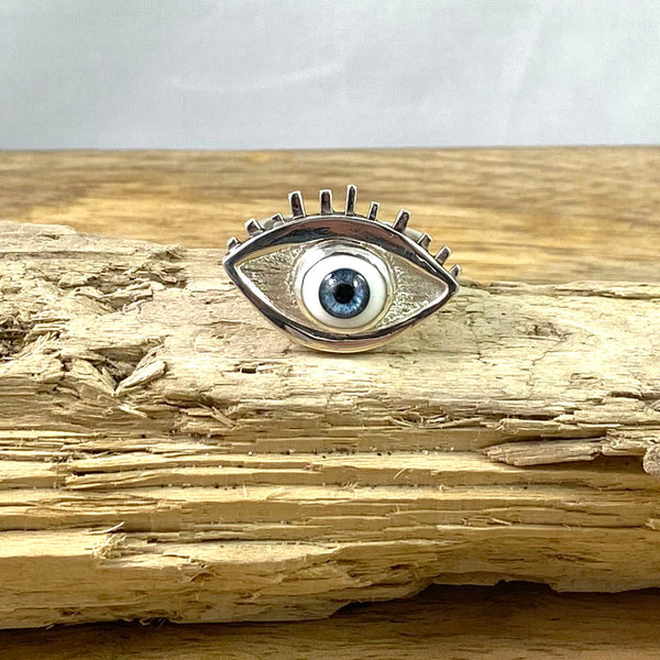 Eye Ring set with Glass Eye in Recycled Sterling Silver