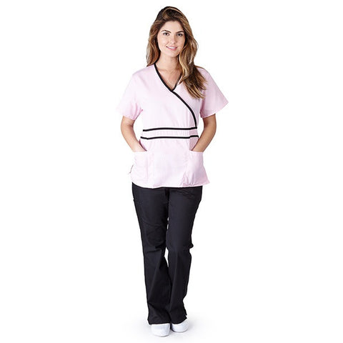 Womens Contrast Mock Wrap Scrub Set