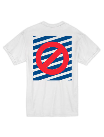 Striped No Ghost Tee - White/Blue