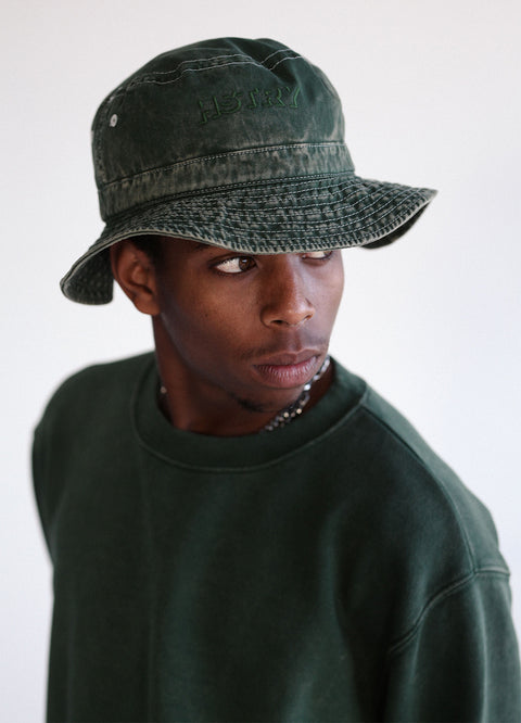 MINERAL WASHED MILITARY GREEN BUCKET HAT