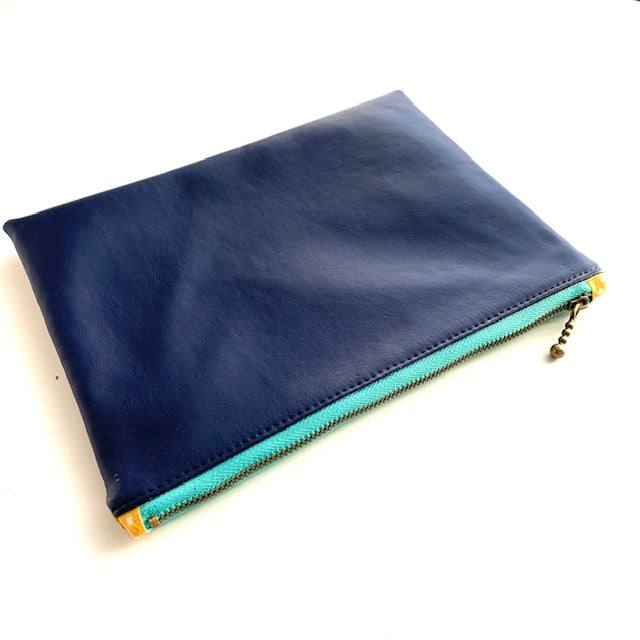 Stitched by Lisa - Duo Pleather Zip Pouch Navy/Yellow -Turq zip