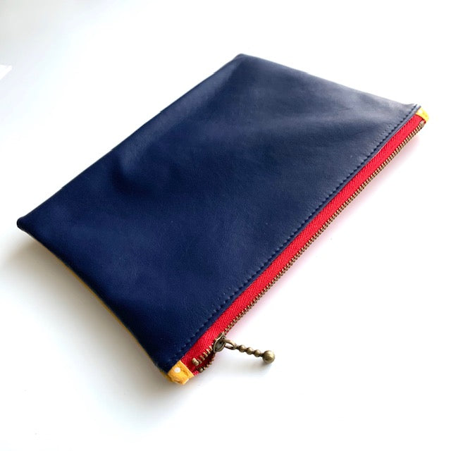 Stitched by Lisa - Duo Pleather Zip Pouch Navy/Yellow - red zip