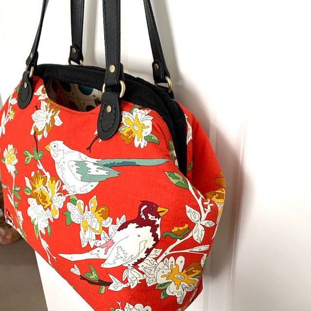 Stitched by Lisa - Glamtote Carpet Bag - Red Birds Paint by Numbers