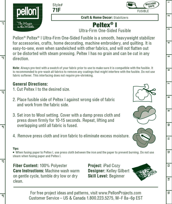 Pellon 71F Peltex® One-Sided Fusible ULTRA FIRM Stabilizer