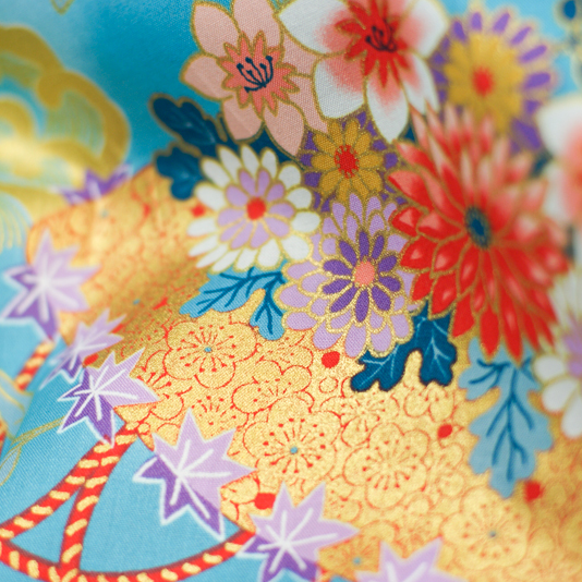 Japanese Import Fabric. Periwinkle Chrysanthemums