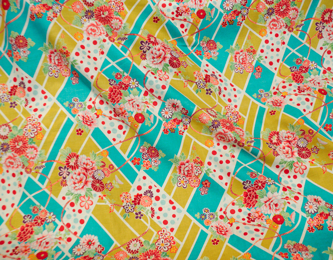 Japanese Import Fabric. Tiled Flower Garden - TURQUOISE