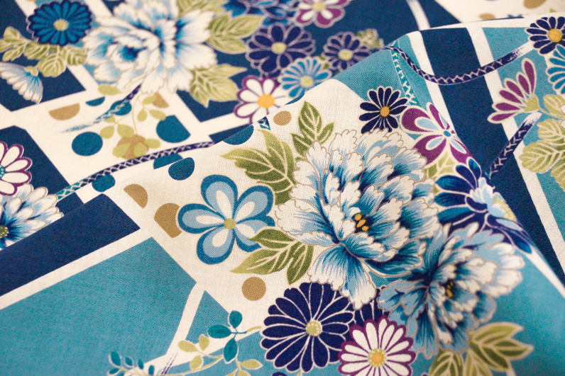 Japanese Import Fabric. Tiled Flower Garden - BLUE