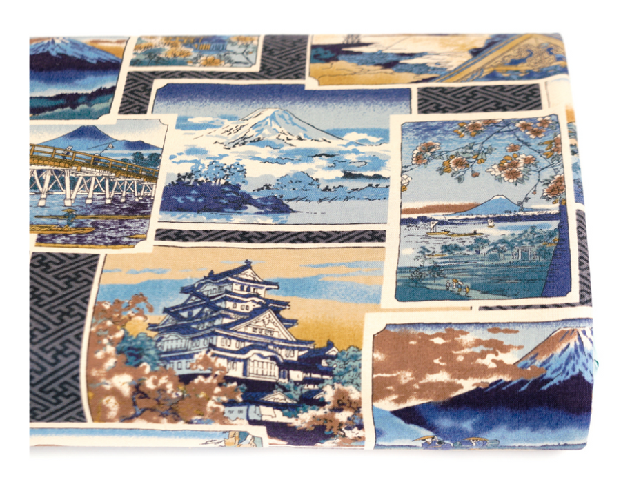 Japanese Import Fabric. Postcards from Japan - BLUE