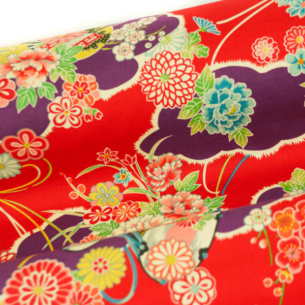 Japanese Import Fabric. Cloud Garden - RED