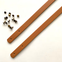 Leather Bag Straps with Rivets - Light Tan