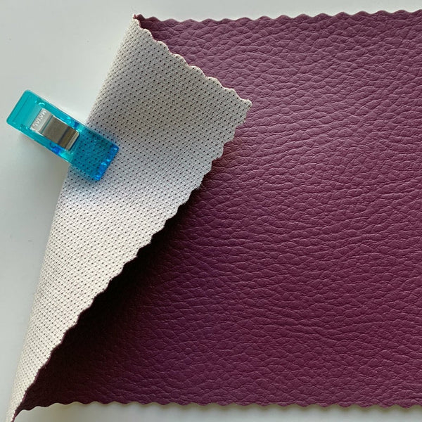 SECONDS Medium Grain Faux Leather Pleather Fabric - PLUM