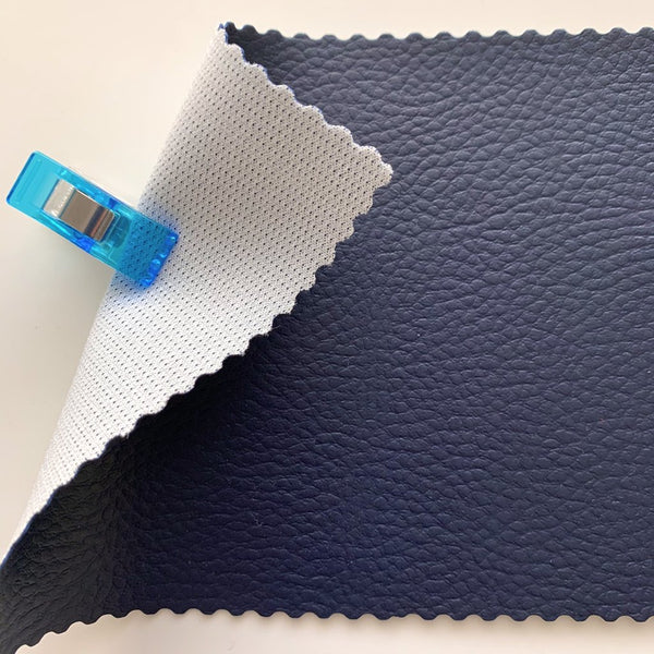 SECONDS Medium Grain Faux Leather Pleather Fabric - NAVY BLUE 70CM X 38CM