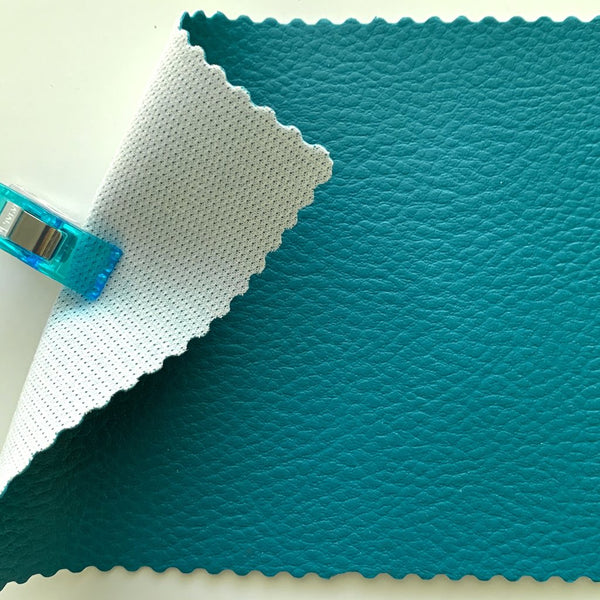 SECONDS Medium Grain Faux Leather Pleather Fabric - PEACOCK TEAL
