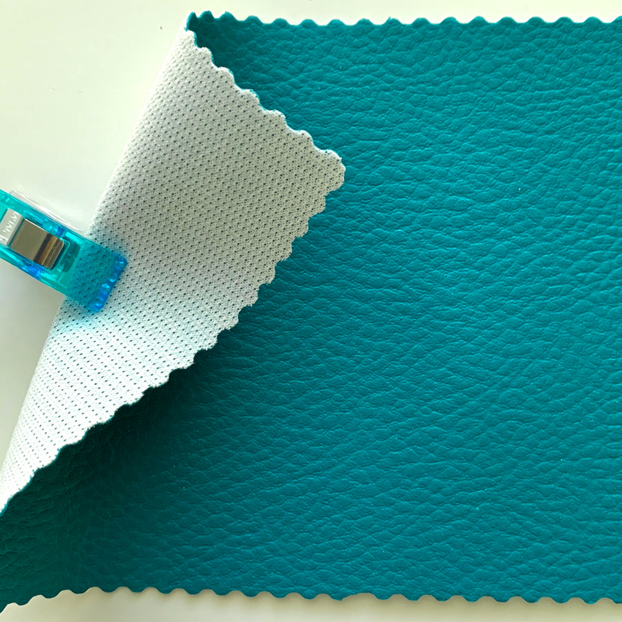 Medium Grain Faux Leather Pleather Fabric - PEACOCK TEAL