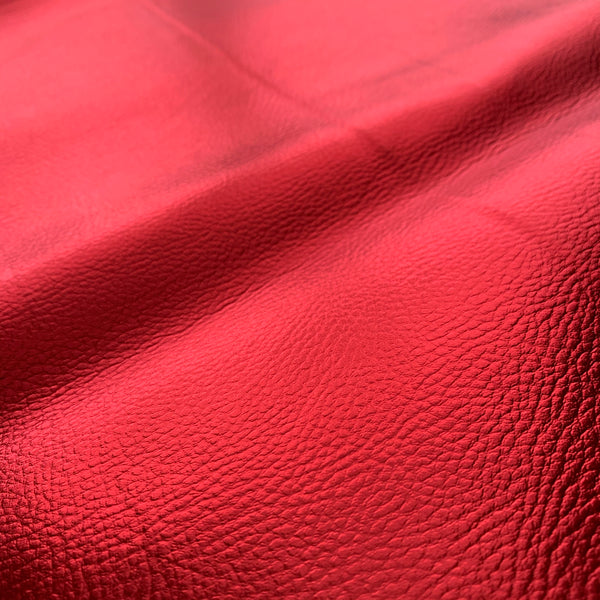SECONDS MIRROR SHINE METALLIC FAUX PLEATHER FABRIC - Cherry Red 40cm x 138cm