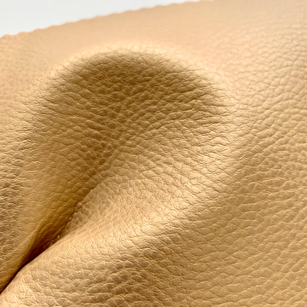 Medium Grain Faux Leather Pleather Fabric - SOFT SHEEN GOLD