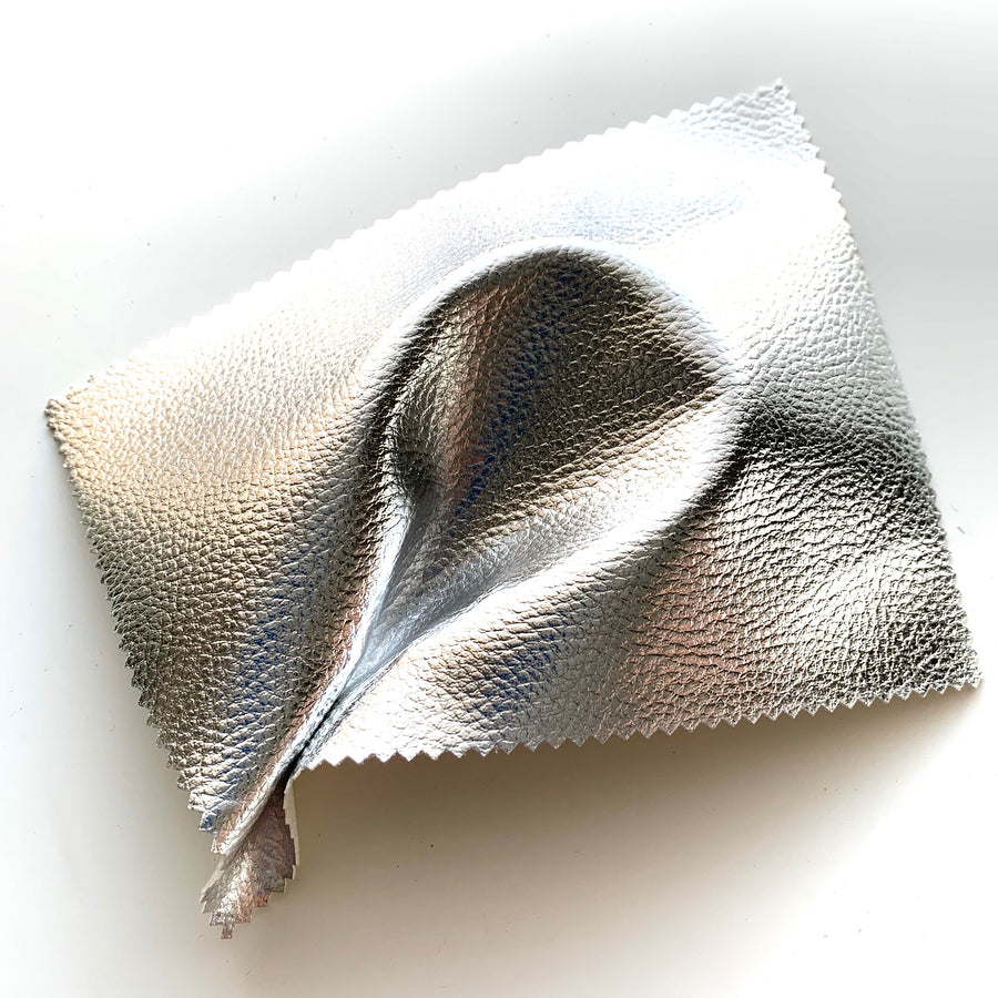 PREORDER (ETA 3RD FEB) - Mirror Shine Metallic Faux Leather Pleather Fabric - Silver