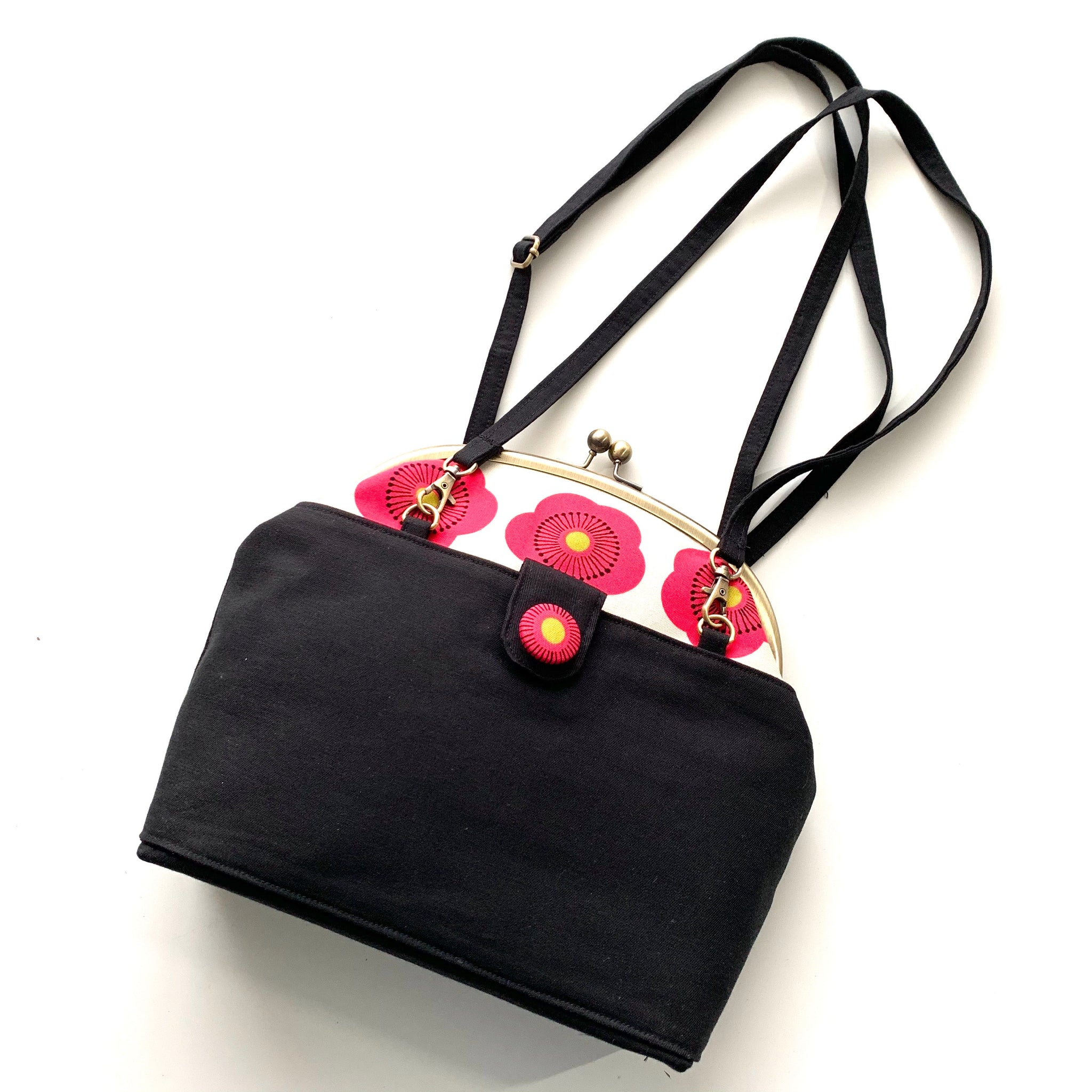 Stitched by Lisa - Button Moon Bag - Raspberry Peonies