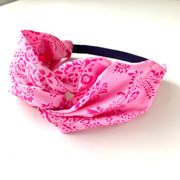 Stitched by Lisa - Adult Knotted Headband - Pink Lace Flower
