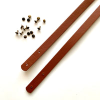 Leather Bag Straps with Rivets - Tan Brown