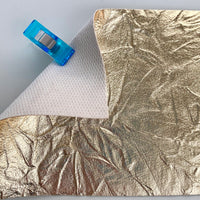 Gold Crease Metallic Faux Leather Pleather Fabric - PALE GOLD