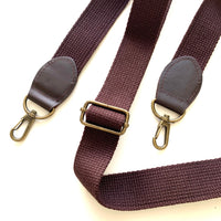 Webbing and Faux Leather Cross Body Bag Strap Handle - Dk Brown