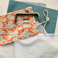 REFILL KIT (NO PATTERN) Easy Peasy Purse Making Kit with Fabrics & Metal Label - Peach Pagodas  LTD EDITION