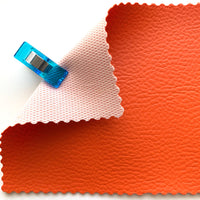 Medium Grain Faux Leather Pleather Fabric - JUICY ORANGE